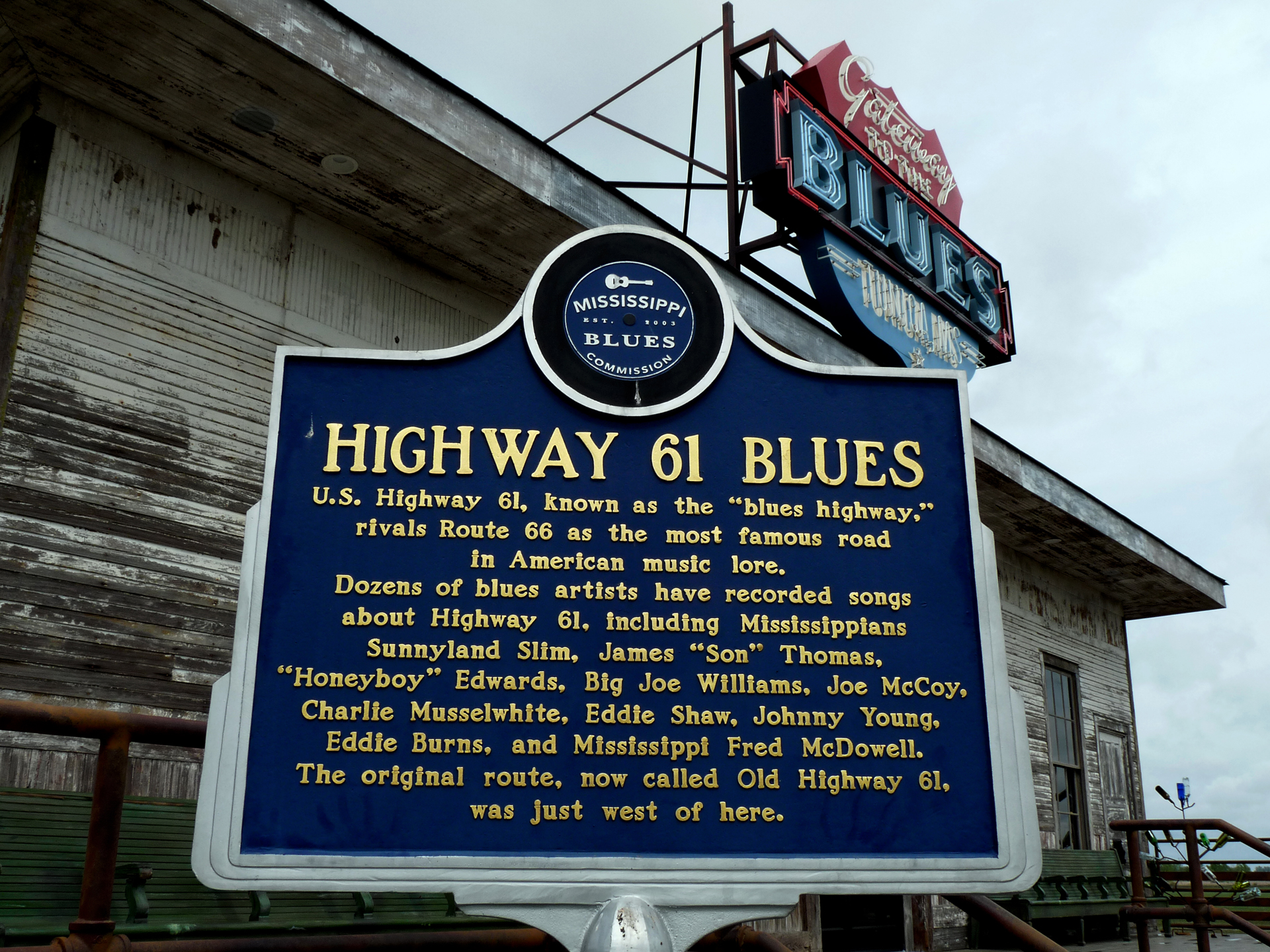 Mississippi Blues Trail marker for Highway 61
